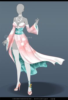 (closed) Outfit Adopt 643 - Kamikaze by CherrysDesigns on DeviantArt : (closed) Outfit Adopt 642 - Benzai-Ten by CherrysDesigns Clothing Sketches, Dress Sketches, Hero Costumes, Anime Costumes, Dress Drawing, Drawing Clothes, Fashion Design Drawings, Fashion Sketches, Anime Outfits