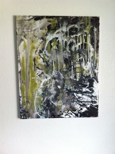 Medium Original Abstract Art Painting (acrylic) Green, Gray, Black, and White by CosmicCannibalArt on Etsy