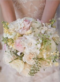 pastel wedding bouquet. Minus the green.   What is with all these women wanting leaves and twigs in their   bouquet?