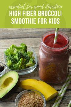 High Fiber Broccoli Smoothie Recipe for Kids - Super Healthy Kids Smoothie Recipes For Kids, Smoothies For Kids, Healthy Smoothies, Baby Food Recipes, Healthy Snacks, Healthy Drinks, Healthy Recipes For Kids, Smoothie Prep, Fiber Diet