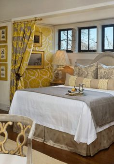 Wall upholstery and portiere fabric are from Fadini Borghi; toile fabric on the pillows is from Braquenie; bed linens are from Christian Fischbacher. Bedroom Bed, Bedroom Decor, Master Bedrooms, Bedroom Ideas, Alcove Bed, Bedroom Alcove, Bedroom With Sitting Area, Bed Linen Design, Beautiful Bedrooms