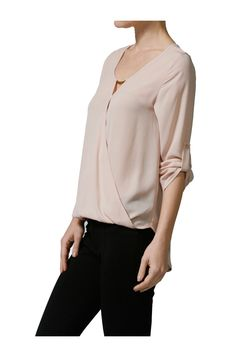 - 100% Polyester - Imported - This unique and trendy 3/4 sleeve blouse features a draped v-neck surplice neckline, gold metal neckline trim, semi sheer chiffon fabric, tabbed sleeve detail, and relaxe