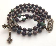 Catholic Rosary Beads, Our Lady of Guadalupe, Kashgar Garnet Beads, Bronze Crucifix, Prayer Beads, Vintage Style Rosary, Religious Gift on Etsy, $80.00