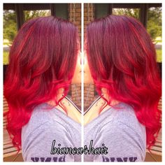 Bright red balayage ombre
