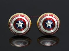 captain America shield gold plated stud post earringsthe by peegu, $7.00