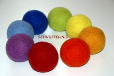 Felt balls SET OF 8 Felted XXL felted wool balls by Schnuffelinis