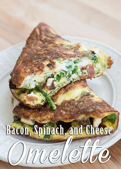 Trim Healthy Mama Bacon, Spinach, and Cheese Omelette Trim Healthy Recipes, Trim Healthy Momma, Thm Recipes, Shake Recipes, Cooking Recipes, Recipies, Healthy Omelette, Easy Omelet, Breakfast Omelette