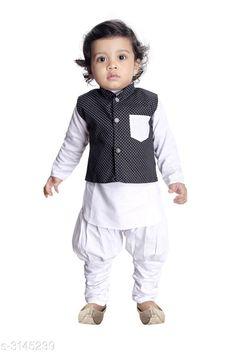 Kurta Sets Fancy Silk Cotton Blend Kurta Kid's Boys Pyjama Set  *Fabric* Silk Cotton Blend  *Sleeves* Waist Coat - Sleeves Are Not Included & Kurta - Sleeves Are Included  *Size* Age Group (6 Months - 12 Months) - 14 in  *Type* Stitched  *Description* It Has 1 Piece Of Kid's Boy's Kurta With 1 Piece Of Kid's Pyjama & 1 Piece Of Kid's Waist Coat  *Work & Pattern* Kurta & Pyjama - Solid , Waist Coat - Printed  *Sizes Available* 2-3 Years, 3-4 Years, 4-5 Years, 6-12 Months, 0-1 Years, 1-2 Years *    Catalog Name: Ethnic Fancy Silk Cotton Blend Kurta Kid's Boys Pyjama Set Vol 2 CatalogID_431651 C58-SC1170 Code: 242-3145239-