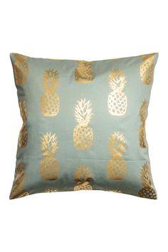 Husă de pernă cu imprimeu: Husă de pernă din twill de bumbac, cu imprimeu strălucitor cu ananas și cu fermoar ascuns.