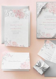Antique Rose Scrolls - Signature White Textured Wedding Invitations
