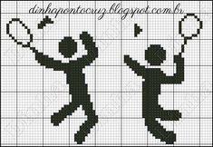 Bom dia a todos! Vamos praticar esportes? Crochet Motifs, Filet Crochet, Badminton, Loom Patterns, Loom Beading, Projects For Kids, Perler Beads, Pixel Art, Tricks