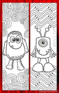 Kids will surely enjoy adding colors to these cute monster bookmarks! Santa Coloring Pages, Monster Coloring Pages, Quote Coloring Pages, Colouring Pages, Adult Coloring Pages, Bookmarks Kids, How To Make Bookmarks, Coloring Bookmark, Monster Bookmark