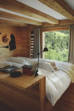"Beautiful wooden bedroom in the ultimate in getaway homes. Swiss alps cabin that is perfect interior design and relaxing comfort to the max. Beautiful wooden furniture and log cabin design. ""Chalet in the Swiss Alps "" Home Interior Design, Interior Decorating, Chalet Interior, Interior Colors, Interior Modern, Interior Ideas, Chalet Style, Cozy House, Cheap Home Decor"