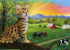 Bengal kitten cat sunrise morning farm barn landscape original aceo painting art #Miniature