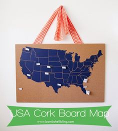 USA Cork Board Map. Great for travelers or school