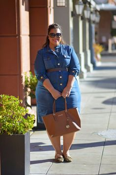 Blogger @garnerstyle in the Ashley Stewart Belted Denim Dress. http://www.ashleystewart.com/belted-denim-dress/AS-000361_PA4151.html