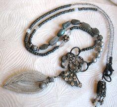 Turn a New Leaf- long assemblage necklace - salvage - vintage rhinestone - labradorite - quartz - leaf charm dangle - tribal metal - silver