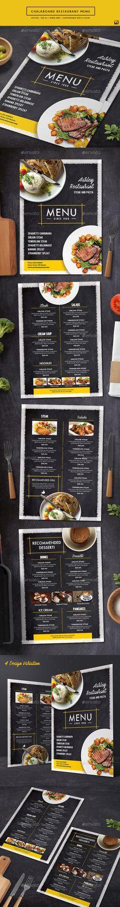 Chalkboard Restaurant Menu — Photoshop PSD #retro #style • Download ➝ https://graphicriver.net/item/chalkboard-restaurant-menu/19360869?ref=pxcr