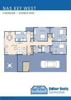 NAS Key West – Sigsbee Park Neighborhood: 3 bedroom duplex floor plan.