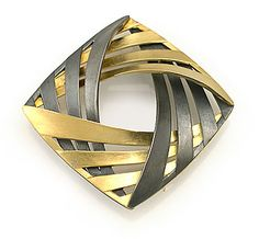 Interlock Square Pin/Pendant, 32 x 32mm, 18K Yellow Gold, Oxidized Sterling Silver