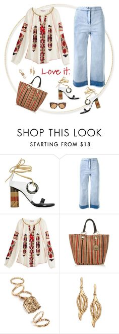 """""""Love it."""" by musicfriend1 ❤ liked on Polyvore featuring Proenza Schouler, Manning Cartell, Calypso St. Barth, See by Chloé, Topshop, Oscar de la Renta and Bottega Veneta"""