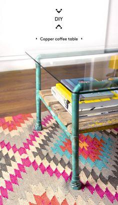DIY copper pipe coffee table · DIY mesa de centro con tubos de cobre | Dr. Livinghome. A modern DIY blog