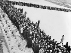 Thousands of people line up at the Schillerstrasse in Charlottenburg, Berlin, Germany, to apply for a passage slip to get across the border after Berlin was seperated with a wall as Eastern and Western sections, December Fall Of Berlin Wall, German Police, East Germany, Berlin Germany, Warsaw Pact, Brandenburg Gate, Into The West, West Berlin, Across The Border