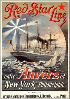 Red Star Line 1803 French Vintage Poster Print http://stores.ebay.com/Vintage-Poster-Prints-and-more