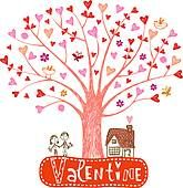 Valentine tree with hearts vector 735849 - by azzzya on VectorStock® Valentines Illustration, Music Illustration, Free Vector Images, Vector Art, Vector Stock, Birthday Doodle, Castle Vector, Halloween Frames, Valentine Tree