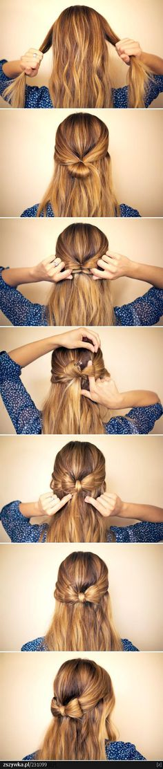 Five interesting DIY hair bow tutorials. Find out how to make bow out of your hair. Make bow in your hair as hair bow bun, or together with brad,fishtail. Hair Day, My Hair, Girl Hair, Bow With Hair, Tips Belleza, About Hair, Hairbows, Pretty Hairstyles, Bow Hairstyles