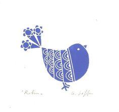 « Robin » - un Original linogravure imprimer main tiré (pas un imprimé reproduit numériquement.)  Après avoir dessiné la plaque de lino, jai