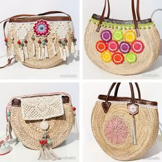 I just finished this mini natural fiber summer bag with beads and tassels and a leather top covered with a crochet pineapple square .   Acab...