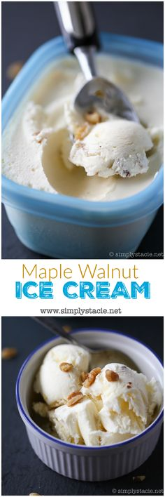 Creamy, smooth and sweet recipe for Maple Walnut Ice Cream. This no churn ice cream is super easy and no special equipment is required!