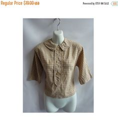 Vintage 40s Blouse size XXS Beige Cotton Swiss Dot Plaid Crop Top Rockabilly Shirt Oversize Buttons Dolman Sleeves 50s