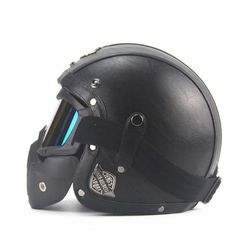 Leather Open Face Vintage Helmet with Goggle Mask