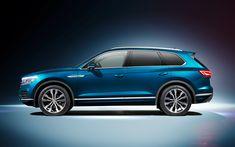 Download wallpapers 4k, Volkswagen Touareg, side view, 2019 cars, SUVs, blue Touareg, 2019 Volkswagen Touareg, german cars, VW Touareg, Volkswagen