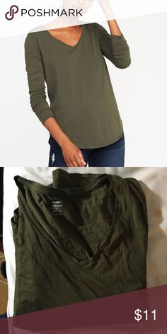 NWOT Old Navy olive v-neck long sleeve tee Never worn. Curved hem and relaxed fit. 100% cotton. Old Navy Tops Tees - Long Sleeve