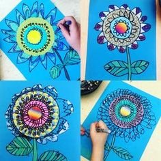 """I start First graders early with """"mandala type. I start First graders early with """"mandala type"""" work. These flowers are so fun! 3 circles (Roylco has the best patterned papers and precut… First Grade Art, 2nd Grade Art, Spring Art Projects, School Art Projects, Art Lessons Elementary, Upper Elementary, Kindergarten Art, Collaborative Art, Art Lesson Plans"""