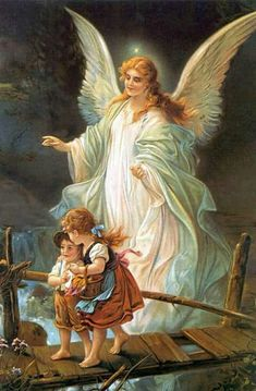 I have this painting in my house. Guardian Angel and Children Crossing Bridge Painting by Lindberg Heilige Schutzengel Guardian Angel Pictures, Guardian Angels, Angel Images, Angels Among Us, Real Angels, Angel Protector, Angel Prayers, I Believe In Angels, Angels In Heaven