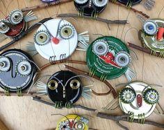 Metal Lid Bottle Cap Owls