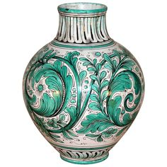 Big 1920s Italian Majolica Faience Vase by MCP Piediluco | From a unique collection of antique and modern vases at https://www.1stdibs.com/furniture/dining-entertaining/vases/