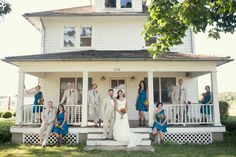 Blue bridesmaid dresses- rustic wedding at Long Island Farm. courtesy of Alexis Stein Photography.
