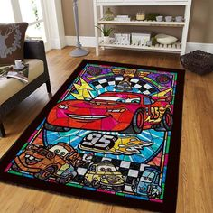 Home Decor Bedroom, Living Room Decor, Lightning Mcqueen, Carpet Flooring, Floor Decor, Rug Making, Animal Print Rug, Vivid Colors, Area Rugs