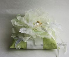 FREE SHIPPINGLime green  wedding pillow with flower by tijusai, $36.00