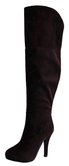 Refresh Women's Lana-14 Sueded Knee High Boot Wide Calf Boots, Knee High Boots, High Heels, Lingerie Heels, Black Knees, Heeled Boots, Calves, Shoes, America