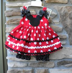 Custom Boutique  Classic Minnie Mouse Inspired Dress w/Bloomers  Sizes 0-6mo, 6-12mo, 12-18mo, 18-24mo, 2t, 3t, 4t, 5/6, 7/8 - :O