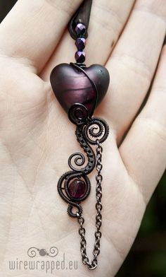 Goth wire wrapped heart 5 by ukapala on Etsy