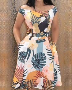 ivrose / Mixed Print Off Shoulder Pocket Casual Dresses African Fashion Dresses, African Dress, Trend Fashion, Fashion Design, Womens Fashion, Style Fashion, Fashion Brands, Fashion 2018, Fashion Styles