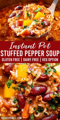 Instant Pot Stuffed Pepper Soup tastes just like stuffed peppers, but it s way easier to make! Made with bell peppers, ground chicken, rice and beans, this soup is a satisfying one-pot family meal. The Recipe Well for more great meal ideas! Crock Pot Recipes, Soup Recipes, Cooking Recipes, Healthy Recipes, Gnocchi Recipes, Cooking Hacks, Skillet Recipes, Cooking Gadgets, Low Carb Recipes