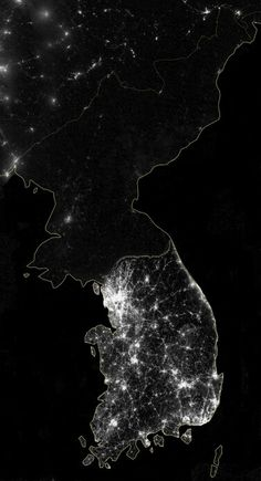 South Korea Versus North Korea At Night